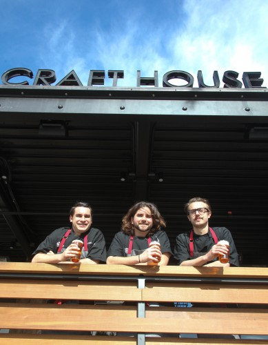 (From left) Craft House sous chef Crews Wells, sous chef Jason Naaman and chef and owner Blake Mellgren on the patio of their soon-to-open Dana Point restaurant.