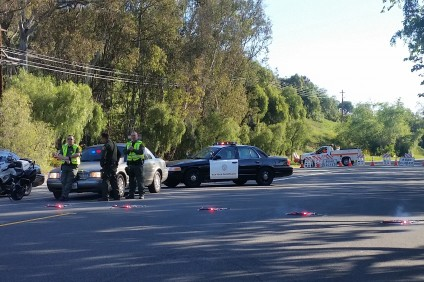 Ortega Highway was closed Friday morning between Avenida Siega and Antonio Parkway due to the investigation of a fatal car crash. Photo: Allison Jarrell