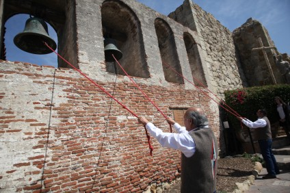 Mission bells are rung during the Mission's annual St. Joseph's Day celebration. Photo: Allison Jarrell