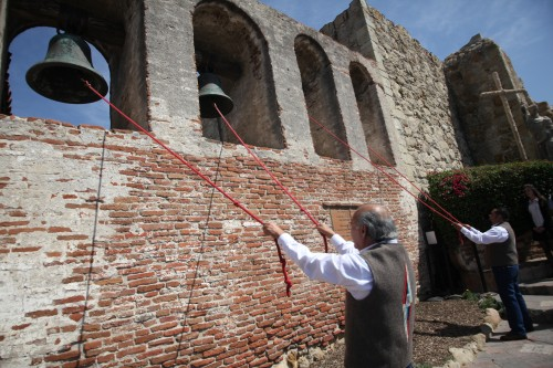 Mission bells are rung during last year's St. Joseph's Day celebration. Photo: Allison Jarrell