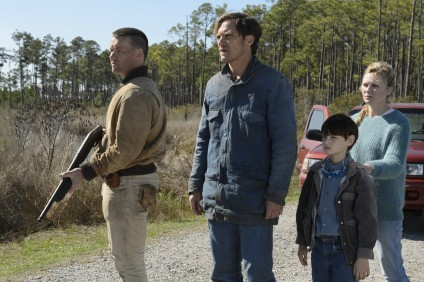 (L to R): Joel Edgerton as Lucas, Michael Shannon as Roy, Jaeden Lieberher as Alton and Kirsten Dunst as Sarah in the sci-fi thriller Midnight Special. Photo: Warner Bros.