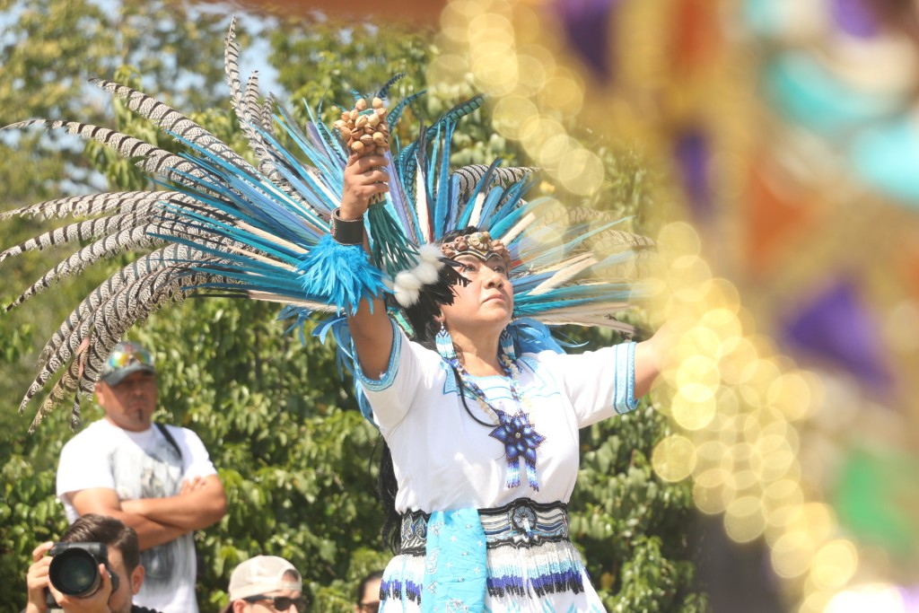 Members of the Grupo Tlatelolco & Friends perform on Sunday at the San Mateo Campground for the Panhe celebration. Photo: Eric Heinz