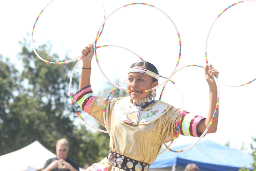 Nanabah Kadenehii performs a Navajo tribe hoop dance during the Panhe celebrations. Photo: Eric Heinz