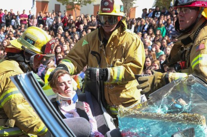 On March 29, San Juan Hills High School students and local emergency responders reenacted a fatal drunk driving collision on the school's campus. Photo: Alex Paris