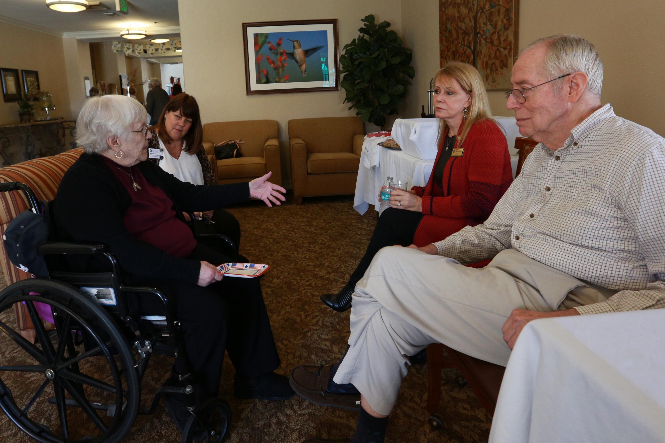 From left to right:Mary Janney; Deborah Brown, Silverado Assistant Administrator; Mayor Pam Patterson and Wayne Peterson. Photo: Courtesy of Silverado San Juan Capistrano