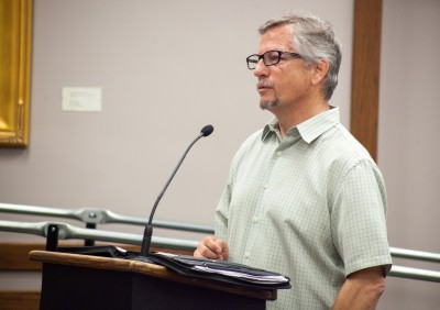 Planning Commissioner Rob Williams addresses the City Council on May 3 to defend his position on the commission and his continued review of the Hotel Capistrano project and Historic Town Center Master Plan. Photo: Allison Jarrell