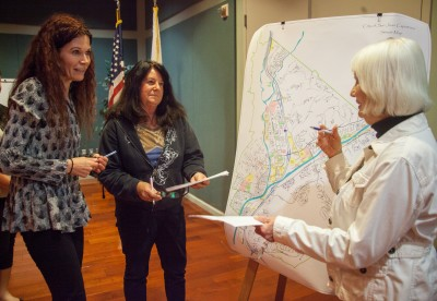 (From left) Karin Mac Donald of Q2 Data & Research speaks with residents Connie Vermeulen and Kathleen Petersen about how homeowners associations will be impacted by districting. Photo: Allison Jarrell