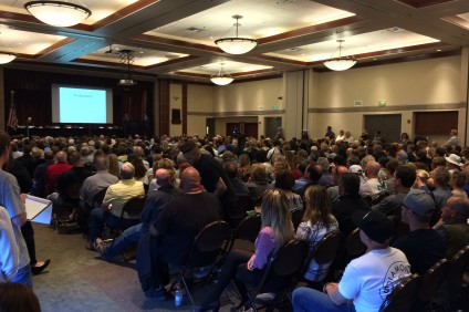 About 600 people, including San Juan Capistrano Council woman Kerry Ferguson, gathered in Laguna Hills for a town hall meeting to discuss sober living homes and how to regulate them. Photo: Matt Cortina