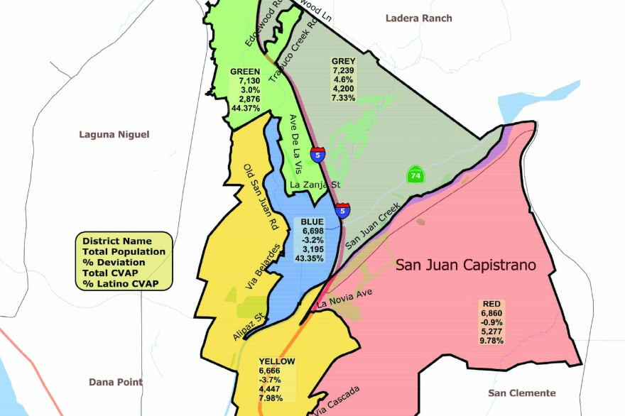 Shown is the first draft of the city's map of five voting districts, created after demographers received input during two community meetings. Voting districts will be discussed in an upcoming community forum on June 1 and at a City Council public hearing on June 6. Image: Courtesy City of San Juan Capistrano