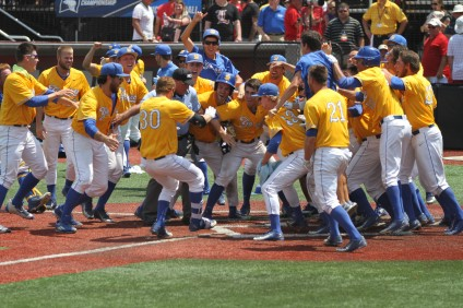 Sam Cohen crosses home plate after hitting the game-winning grand slam against Louisville on June 12. Photo: Courtesy UCSB Athletics
