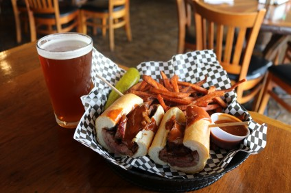 Bad to the Bone's Fire-Roasted Tri-Tip Sandwich. Photo: Matt Cortina