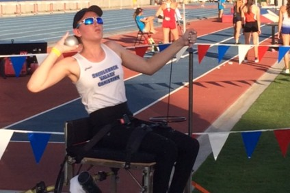 Saddleback Valley Christian freshman Kendall Stier won the seated shot put event at the CIF State Track and Field Championships on June 4. Photo: Courtesy