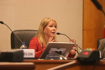 San Juan Capistrano Mayor Pam Patterson voiced her concerns regarding the security of the spent nuclear fuel at San Onofre Nuclear Generating Station during a meeting hosted by the coalition Secure Nuclear Waste on Wednesday at Laguna Beach City Hall. Photo: Eric Heinz