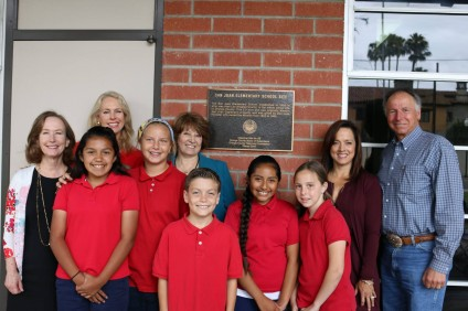 On May 17, San Juan Elementary students, families, teachers and staff joined Principal Sylvia Pule, members of the Orange County Historical Commission, Board President Amy Hanacek and Trustee Gila Jones for the official unveiling of the plaque naming San Juan Elementary an official historical site in Orange County. Other special guests included San Juan Capistrano City Councilman Sam Allevato and Mechelle Lawrence-Adams, Executive Director of Mission San Juan Capistrano. Photo: Courtesy Ryan Burris/Capistrano Unified School District