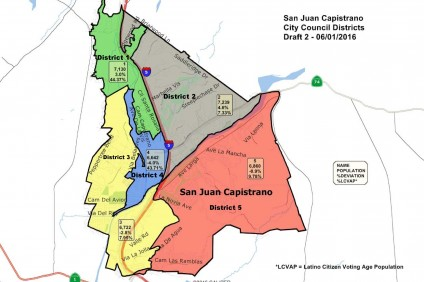 Shown is the final map of San Juan's new district boundaries, created after demographers received input during community forums and City Council meetings. District 1 (shown in green) will be one of two districts voting for a Council candidate this November. Image: Courtesy of the City of San Juan Capistrano