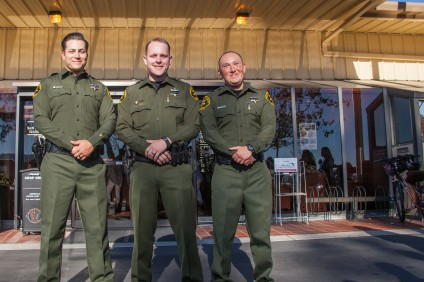 San Juan Capistrano Deputies Leith Chacon, Juan Lopez and Anthony Franco were honored July 19 by the City Council for their courageous actions while under fire during a 911 call on April 27. Photo: Allison Jarrell