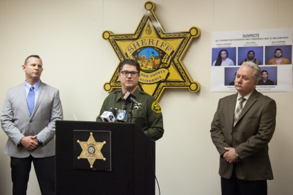 OCSD Lt. Mark Stichter addresses the media at Friday's press conference. Photo: Allison Jarrell