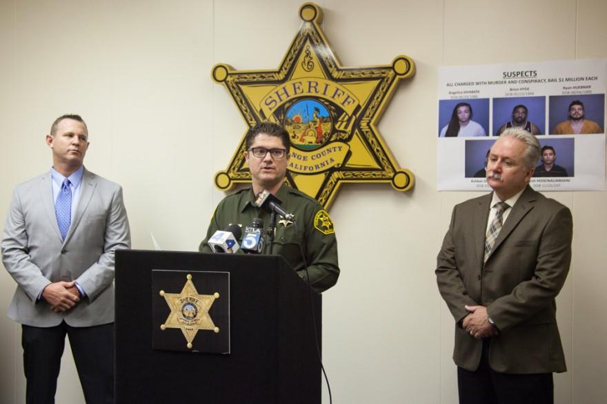 OCSD Lt. Mark Stichter addresses the media at Friday's press conference. Photo: Allison Jarrell