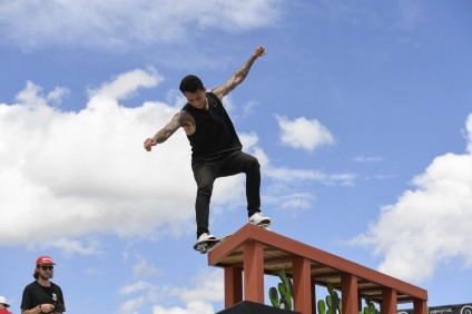 Austin, TX - June 2, 2016 - Circuit of The Americas: Nyjah Huston competing in Monster Energy Skateboard Street Men's during X Games Austin 2016 (Photo by Eric Lars Bakke/ ESPN Images)