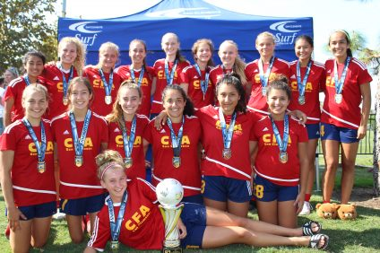 The California Football Academy's girls 2001 team placed first in its division at the San Clemente Surf Summer Classic on Aug. 21. Photo: Courtesy