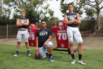 L to R: Nolan Kahal, Jacob Carreon and Dawson Piper will lead the Capistrano Valley Christian football team in 2016. Photo: Steve Breazeale