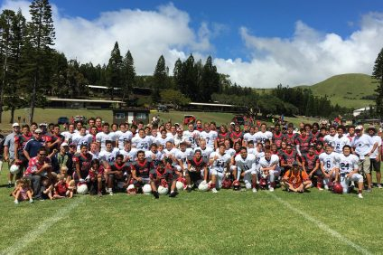 The St. Margaret's varsity and junior varsity football teams played Hawaii Preparatory Academy last week. Photo: Courtesy