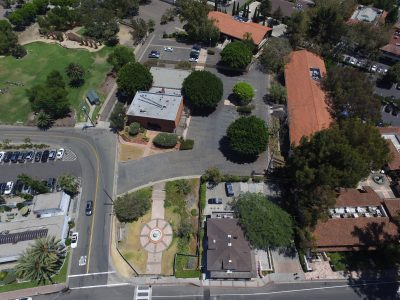 An aerial view of the Hotel Capistrano site adjacent to the Egan House. Photo: Torin Alm