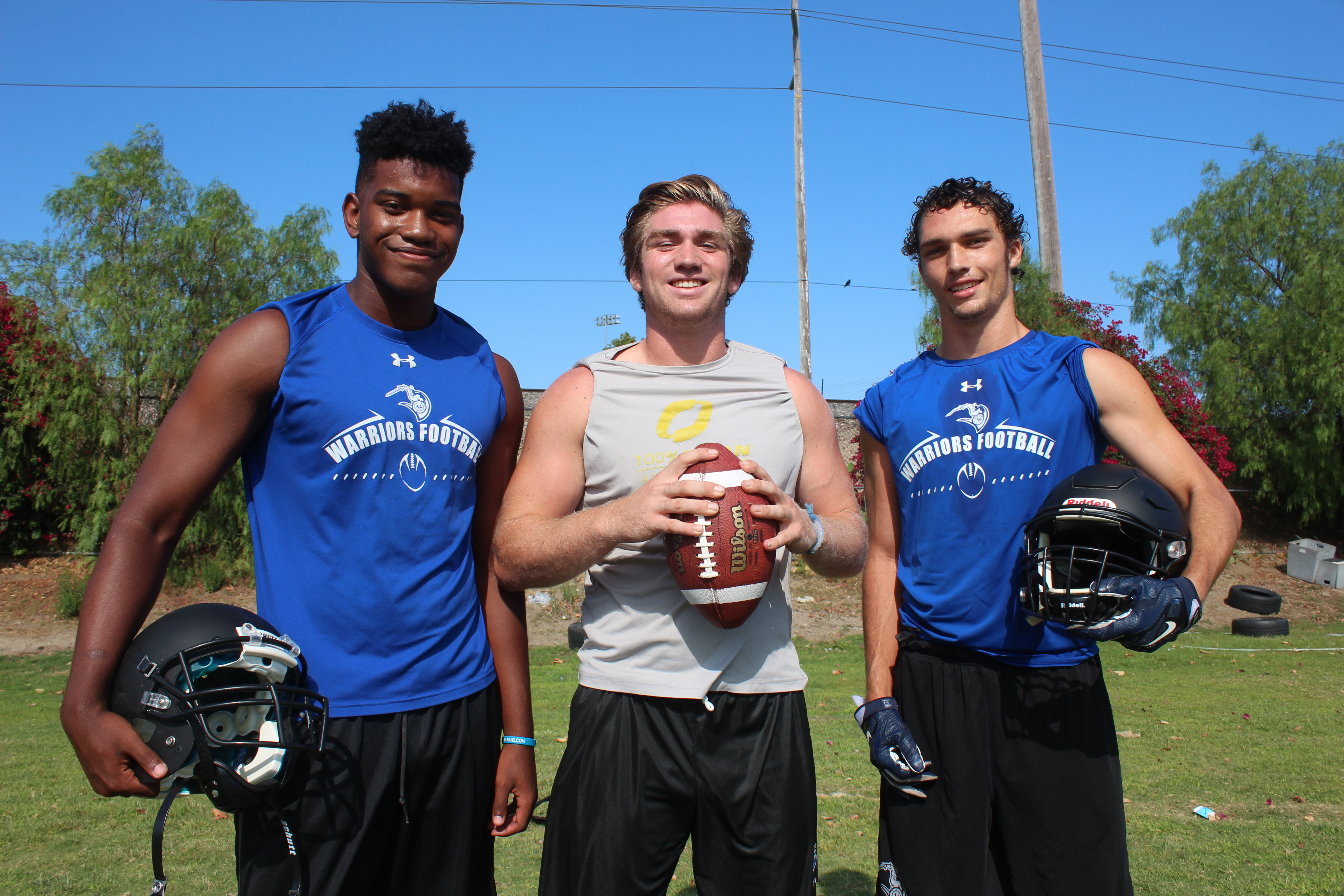 L to R: Saddleback Valley Christian seniors Jon Robinson, Cade Henjum and Cole Etchells look to lead a young Warriors team in 2016. Photo: Steve Breazeale