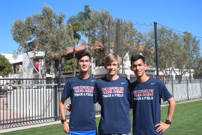 Charlie Smith, middle, Luke Gitter and Nic Gitter will lead a talented St. Margaret's boys cross country team in 2016. Photo: Victor Carno