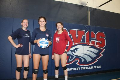 L to R: Riley Barclay, Jessica Castillo, Jessica Wilson and the Capistrano Valley Christian girls volleyball team are off to an 8-1 start to the season. Photo: Steve Breazeale