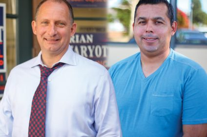 Newly elected District 5 City Councilman Brian Maryott (left) and District 1 Councilman Sergio Farias. Photos: Allison Jarrell