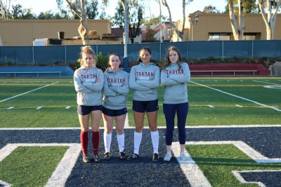 L to R: Niki Miles, Kate Ramm, Anne Otterbein, Cailin Young and the St. Margaret's girls soccer team are ready for new competition this year. Photo: Franki Darnold