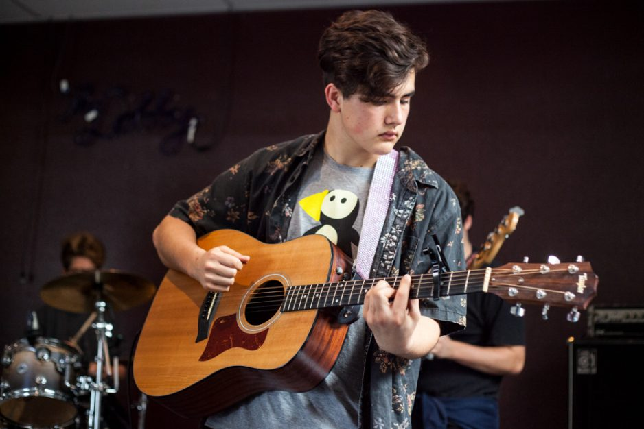 Sean Fitzgerald, 16, of Laguna Niguel, rehearses a song from Fleetwood Mac's Rumours on a recent Saturday. Photo: Allison Jarrell