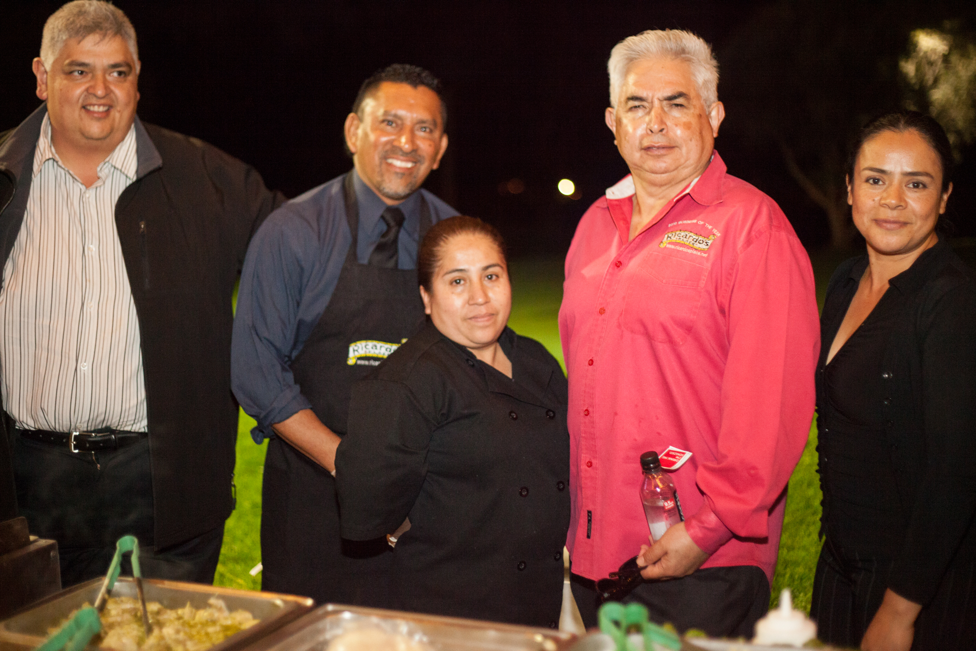 (Left to Right) From Ricardo's Place, Alex Beas; cook Juan Vilchez; waitress Angelica Rojas; owner Ricardo Beas; and waitress Laticia Cruz. Photo: Alex Paris
