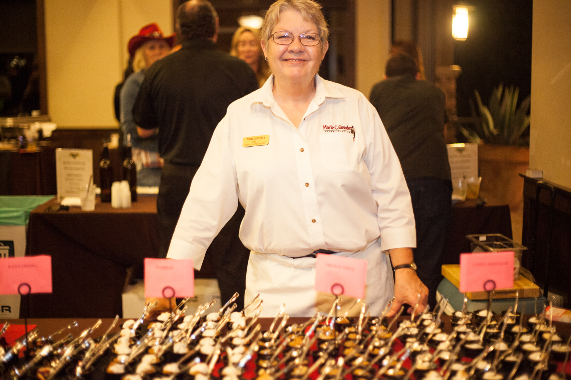 Banquet coordinator Patti Gibson, of Marie Callender's, served up a variety of pies. Photo: Alex Paris