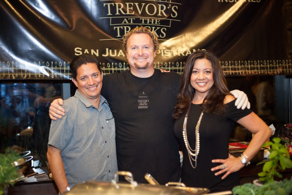 (Left to Right) From Trevor's at the Tracks, Robert Hernandez, beverage director; owner Trevor Baird; and Limela, director of sales. Photo: Alex Paris
