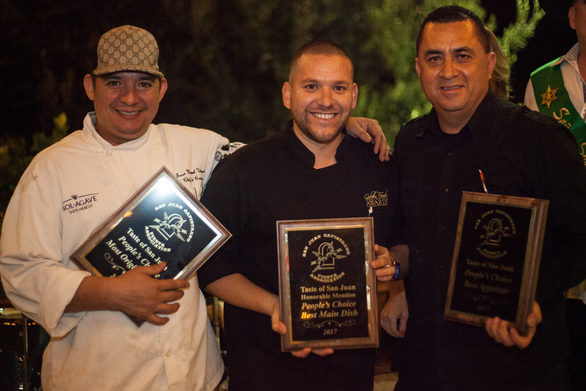 (From left) Chef Manny Velasco, owner Jesus Galvez, and team member Alfonso Montoya pose with their awards. Photo: Alex Paris