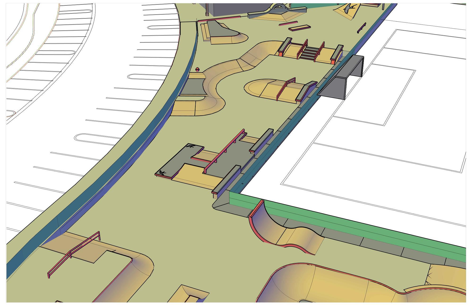 A rendering of the potential skate park design, as presented to the Parks & Rec commission. Image: Courtesy of Spohn Ranch