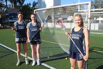 L to R: Maddie Barkate, Cailin Young and Cameron Manor will lead a talented St. Margaret's girls lacrosse team this season. Photo: Steve Breazeale