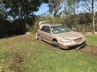 Three people fled and crashed near San Juan Creek on Thursday, March 23. Photo: Courtesy of Dana Point Police Services