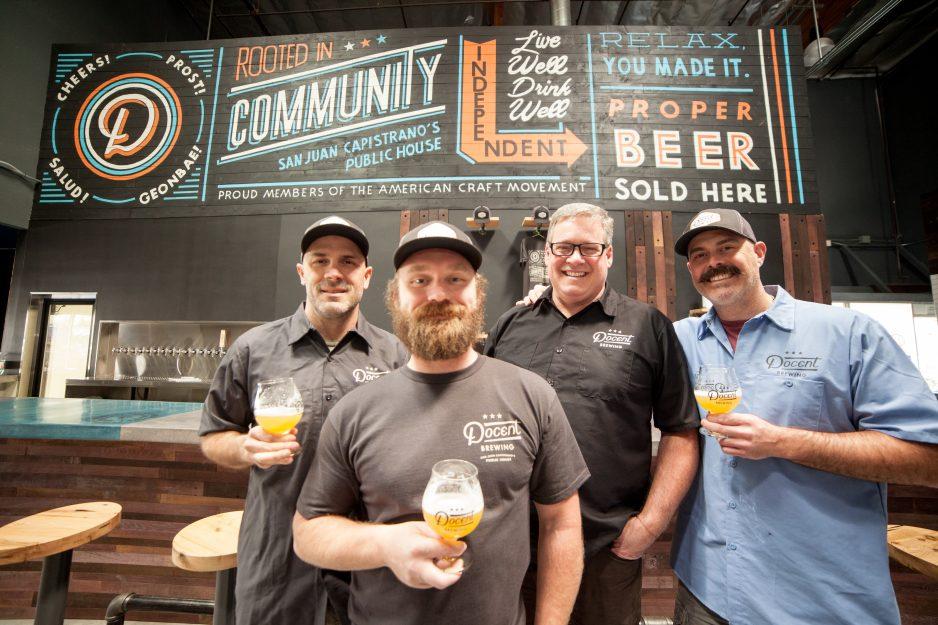 (From left) Scott Cortellessa, Bryan Giesen, Joe Wilshire and Brian Hendon, plan on opening Docent Brewing early next month. Photo: Allison Jarrell
