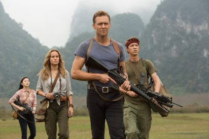 "(L-R) Jing Tian as San, Brie Larson as Mason Weaver, Tom Hiddleston as James Conrad and Thomas Mann as Slivko in Warner Bros. Pictures', Legendary Pictures' and Tencent Pictures' action adventure ""Kong: Skull Island,"" a Warner Bros. Pictures release. Photo: Vince Valitutti"