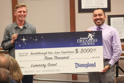As part of his award, Dalton Bourne received $3,000 from Disneyland Resort to donate to a local nonprofit, and he chose Breakthrough SJC. Photo: Allison Jarrell