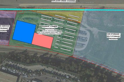 Ganahl Lumber Company's proposal, as presented to the City Council on March 29. Image: Courtesy of Ganahl Lumber Co.