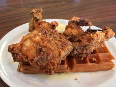 Fried chicken and waffles from Mollie's Famous Café. Photo: Matt Cortina