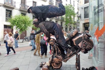 Mimes are seen posing in costumes in Madrid. Photo: Courtesy of Tom Blake
