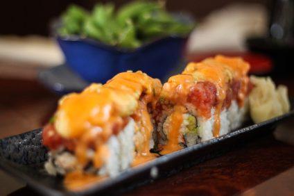 The Golden Salmon Roll at Poki & Sushi. Photo: Allison Jarrell