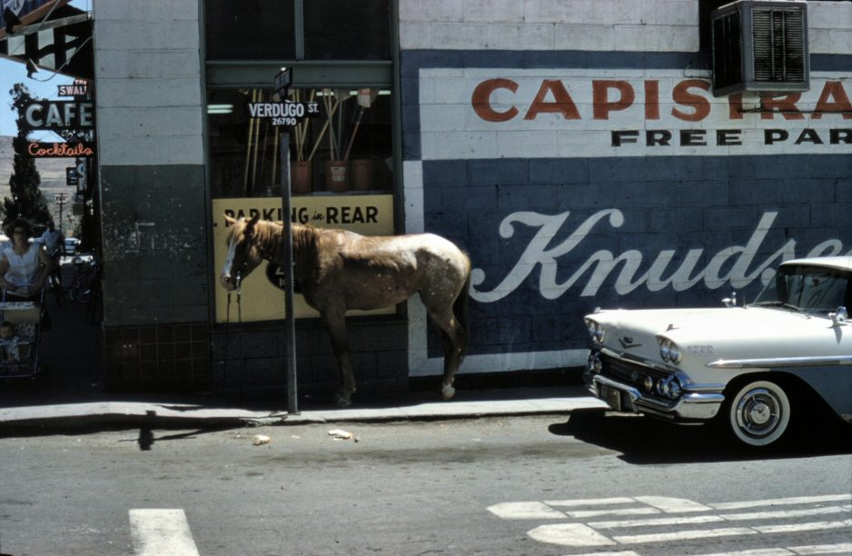 A horse can be seen resting at the corner of Verdugo Street and Camino Capistrano, circa 1960. Photo: Courtesy of the Orange County Archives