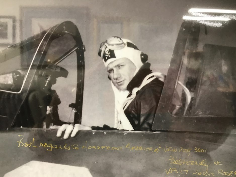 Bill Hardy had just returned from a combat cruise in F6F Hellcats on the aircraft carrier USS Hornet and later converted to F4U Corsairs at Fallon Air Base. Photo circa VJ Day, 1945. Photo: Courtesy of Homefront America