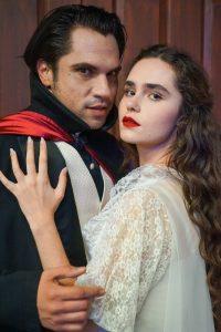 Gerardo Villa-Lobos as Count Dracula and Christina Jesenski as Lucy Seward. Photo: Courtesy of Leslie Eisner